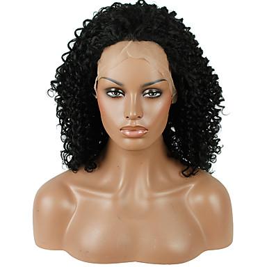 Pelucas sintéticas Kinky Curly Pelo sintético Entradas Naturales Negro Peluca Mujer Encaje Frontal