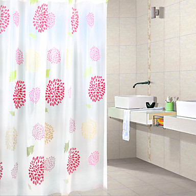 Cortinas de Banheiro Neoclassicismo PEVA Floral / Botânico Máquina