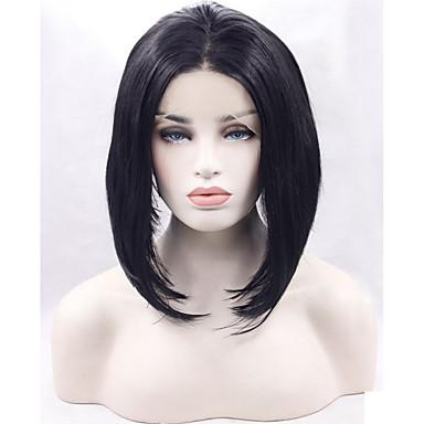 Syntetisk blonder foran parykker Rett Bobfrisyre Naturlig hårlinje / Bob med midtskill Svart Dame Naturlig parykk Syntetisk hår