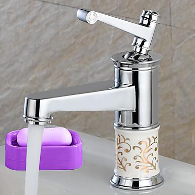 Moderne Mittellage Verbreitete Keramisches Ventil Ein Loch Einhand Ein Loch Chrom , Waschbecken Wasserhahn