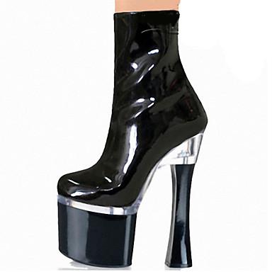 Damen-Stiefel-Outddor Kleid Party & Festivität-Lackleder-Blockabsatz-Komfort Neuheit Club-Schuhe Light Up Schuhe-Schwarz