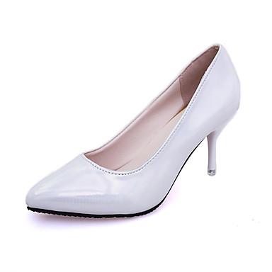 Damen Schuhe PU Winter Herbst Komfort High Heels Niedriger Heel Runde Zehe für Normal Weiß Grau Rosa