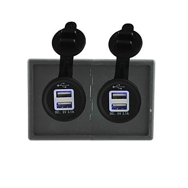 abordables Pièces Détachées pour Automobile-12v / 24v 2pcs 3.1a prise d'alimentation USB avec panneau de support de logement pour bateau de voiture camion rv