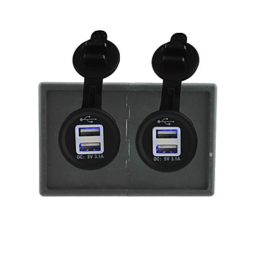 12v / 24v 3.1a 2pcs toma de corriente USB con el panel titular de la vivienda para rv del carro del barco del coche