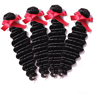 EVET Cheap 6A Unprocessed Peruvian Virgin Hair 4 Pcs Peruvian Deep Wave Remy Human Hair Weave Bundles Natural Color