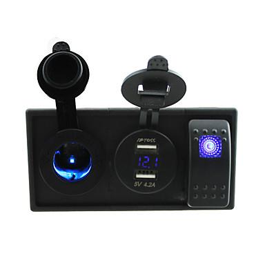 dc 12v / 24v 4.2a LED duplo usb tomada de alimentação carregador de voltímetro com fios jumper interruptor de balancim e titular de