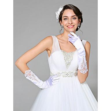 قطن / ستان طول المعصم قفاز سحر / أنيق / قفازات العروس مع تطريز / لون واحد
