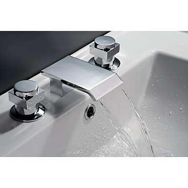Grifo de bañera - Moderno Arte Decorativa / Retro Campestre Cromo Muy Difundido Válvula Cerámica