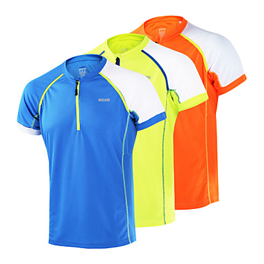 Arsuxeo Homens Gola Redonda Camiseta de Corrida - Laranja, Amarelo Claro, Azul Céu Esportes Blusas Manga Curta Roupas Esportivas Secagem