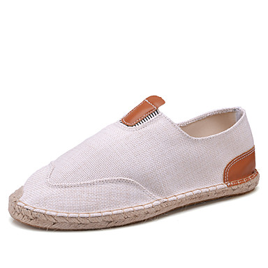 للرجال أحذية رياضية قماش كتان ربيع / خريف مريح المتسكعون وزلة الإضافات المشي يمكن ارتداؤها أبيض / أسود / كاكي