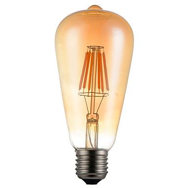 1pc 6 W 550 lm E26 / E27 LED-glødepærer ST64 6 LED perler COB Dekorativ Varm hvit 85-265 V / 1 stk. / RoHs