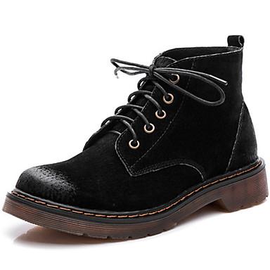 Mulheres Sapatos Camurça Primavera / Verão / Outono Conforto / Botas Cowboy / Country / Botas da Moda Botas Preto / Cinzento