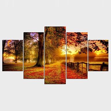 Landskap Blomstret/Botanisk Stil Moderne, Fem Paneler Lerret enhver form Trykk