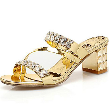 Mulheres Sapatos Sintético Primavera / Verão Gladiador Sandálias Salto Robusto Pedrarias Dourado / Prata / Festas & Noite