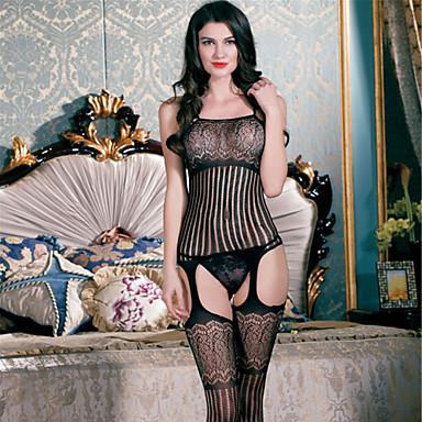 8546494b4 Mulheres Tamanhos Grandes Super Sexy Lingerie com Liga   Lingerie com Renda    Super Sensual Roupa de Noite - Com Transparência Sólido   Corpete