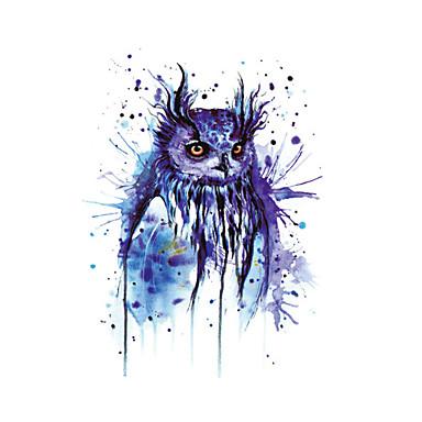 hd große taty halloween Ostern blaue Eule Wassertransferkörperkunst temporäre Tätowierung Aufkleber blinken große Tatoos tatouage