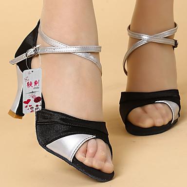 Kadın's Latince Yapay Deri İpek Saten Sandaletler Toka Kişiye Özel Siyah Şerit Siyah ve Altın Kişiselleştirilmiş