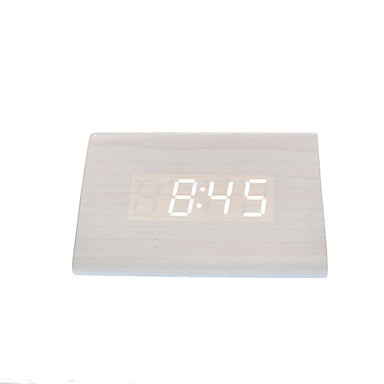 raylinedo® nyeste design mote hvitt tre hvite LED lys tre digital vekkerklokke -time temperatur datovisning - stemme og touch-aktivert