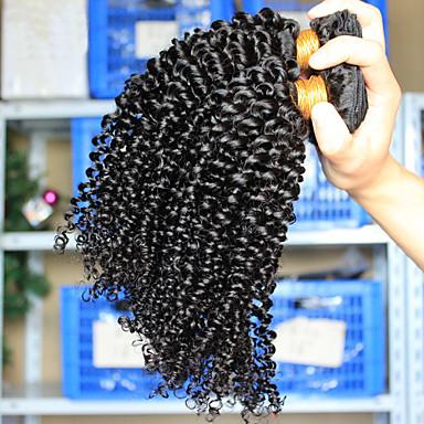 Cabelo Brasileiro Cabelo Humano Ondulado Crespo Cacheado Weave Curly Extensões de cabelo 3 Peças Preto