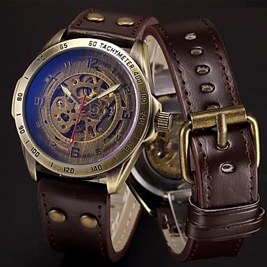 Недорогие Армейские часы-Муж. Спортивные часы Часы со скелетом Армейские часы С автоподзаводом Нержавеющая сталь Натуральная кожа Черный / Синий / Серебристый металл 50 m Cool Панк Аналоговый