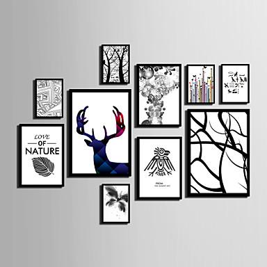 Abstracto Floral/Botánico Animal Lienzo enmarcado Conjunto enmarcado Arte de la pared,PVC Material Negro Passepartoutno incluidocon