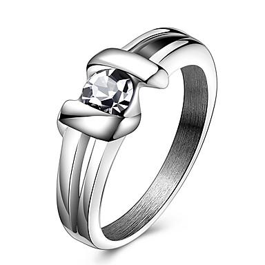 Dame Krystall Statement Ring Ring - Krystall, Titanium Stål 6 / 7 / 8 / 9 / 10 Sølv Til Fest Daglig Avslappet