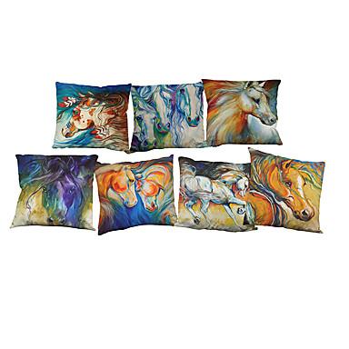 7 PC Lino Funda de almohada Cobertor de Cojín, Un Color Floral Vida Salvaje Con Texturas Novedad Casual Estilo playero Reforzar