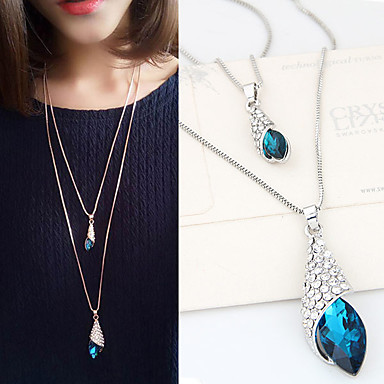 cheap Necklaces-Women's Pendant Necklace Long Double-layer Fashion Synthetic Gemstones Rhinestone Alloy Silver Necklace Jewelry For Daily Casual