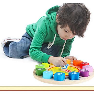 QZM Wooden Clock Toy Pedagogisk leke Utdanning Originale Tre Jente Gave
