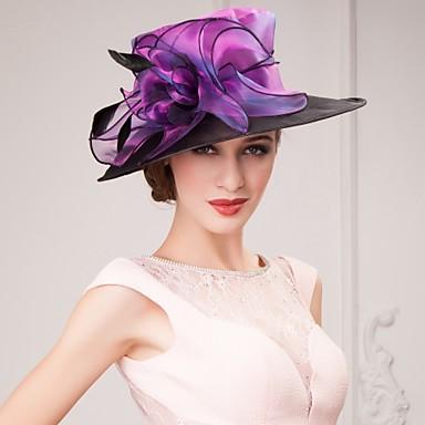 abordables Coiffes-Lin / Soie / Organza Kentucky Derby Hat / Chapeaux / Coiffure avec Fleur 1pc Occasion spéciale / Décontracté / De plein air Casque