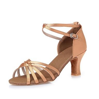 Mulheres Sapatos de Dança Latina Cetim Salto Cadarço de Borracha Salto Robusto Não Personalizável Sapatos de Dança Preto / Azul / Nú / Interior / Espetáculo / Couro / Ensaio / Prática / Profissional