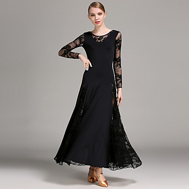 Ballroom Dance Dresses Women's Training Performance Lace Viscose Lace Long Sleeves Natural Dress