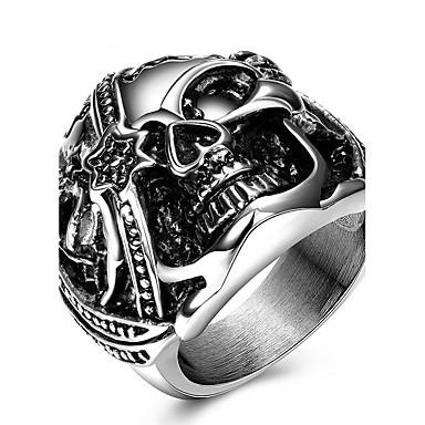 Statement Ring Ring - Titanium Stål Hodeskalle Personalisert, Unikt design, Vintage 6 / 7 / 8 / 9 Sølv Til Bryllup Fest Spesiell Leilighet