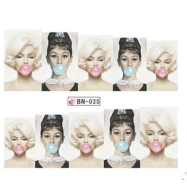 5pcs Engomada del arte del clavo Etiqueta de transferencia de agua maquillaje cosmético Dise?o de manicura