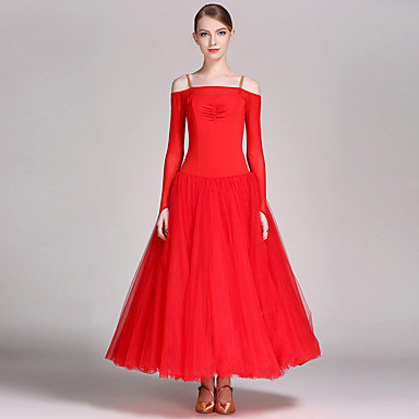 Ballroom Dance Dresses Women's Performance Chinlon Tulle Ruffles Long Sleeves Natural Dress