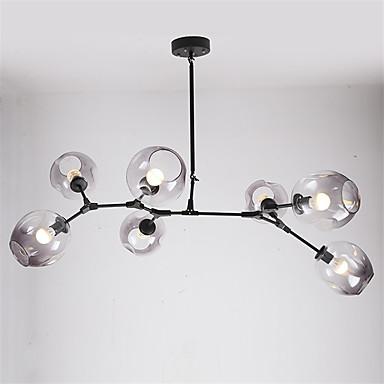 7 cabezas norte de europa araña vintage ahumado gris vidrio moléculas luces colgantes salón comedor