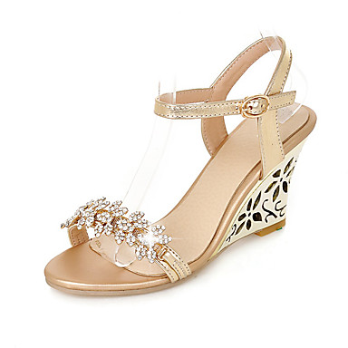 92e4b09450534e Women s Wedge Sandals PU(Polyurethane) Spring   Summer Club Shoes Sandals  Wedge Heel Rhinestone   Buckle Gold   Silver   Wedding   Wedge Heels