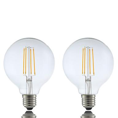 GMY® 2pcs 6 W 600 lm E26 / E27 Lâmpadas de Filamento de LED G95 4 Contas LED COB Regulável Branco Quente 220-240 V / 2 pçs / RoHs