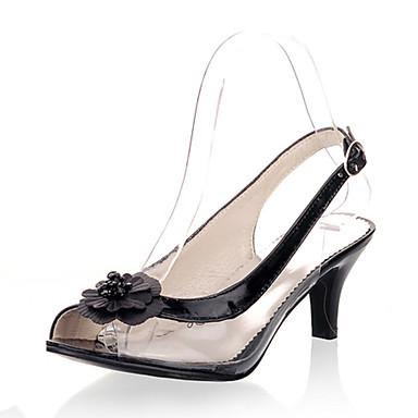 ieftine Sandale de Damă-Pentru femei Pantofi Materiale Personalizate / Imitație de Piele Vară Sandale Toc Mic Pantofi vârf deschis Cataramă / Flori Auriu / Negru / Argintiu / Party & Seară / Party & Seară
