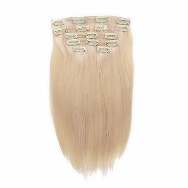 7 PC / conjunto # 60 platium rubio ceniza clip de rubia en extensiones de cabello 14inch 18inch cabello humano 100%