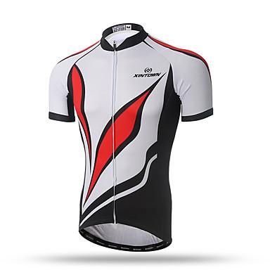 XINTOWN Homens Manga Curta Camisa para Ciclismo - Vermelho / Branco Moto Secagem Rápida, Respirável, Redutor de Suor