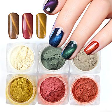 6bottles/Set Nail Glitter / Glitter Powder / Pudder Elegant & Luksuriøs / Glitrende / Bryllup Nail Art Design