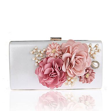 povoljno L.WEST®-Žene Umjetni biser / Cvijet Večernja torbica Vjenčane torbe Poliester Cvijetni print Crn / Red / Fuksija