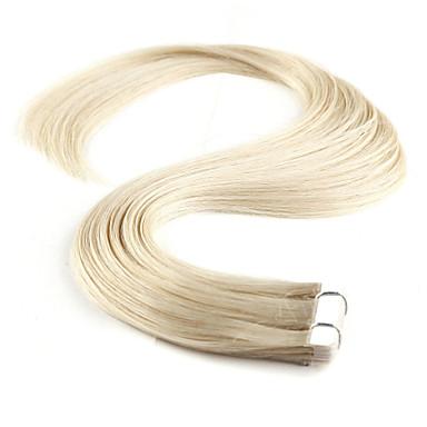 Neitsi Com Adesivo Extensões de cabelo humano Liso Extensões de Cabelo Natural Cabelo Humano Mulheres - Loiro Platina