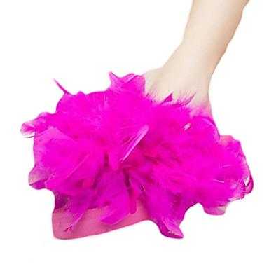 Dame Wedge Heel Flip-Flops PU Sommer Tøfler og flip-flops Flat hæl Spisstå Fjær Gul / Fuksia / Rosa