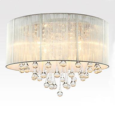 6-Light Takplafond Nedlys Børstet Stof Stof Krystall 110-120V / 220-240V Pære ikke Inkludert / E12 / E14
