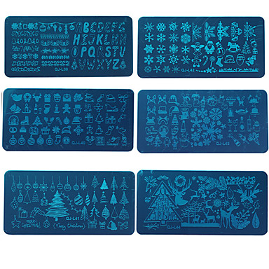 6pcs Skinn og metaller Crafting / Spesialitetsverktøy / stempling Plate Dyr / Stilfull / Klassisk Stil Nail Art Design Stilig Design