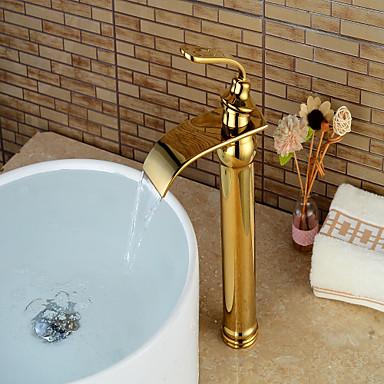 Moderna Conjunto Central Cascata Válvula Cerâmica Monocomando e Uma Abertura Ti-PVD, Torneira pia do banheiro