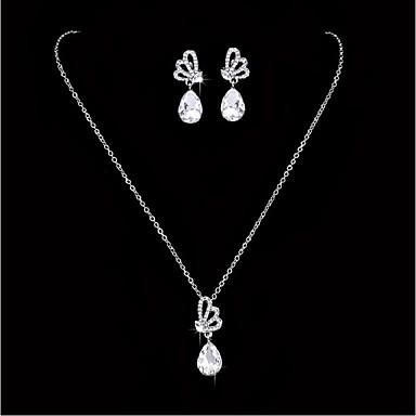 حجر الراين مجموعة مجوهرات - حجر الراين, تصفيح بطلاء الفضة تتضمن أبيض من أجل زفاف / حزب