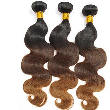 Человека ткет Волосы Перуанские волосы Естественные волны 3 предмета волосы ткет